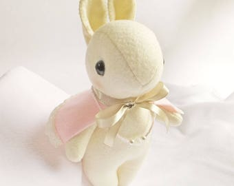 White Rabbit Felt Doll with Pink Cape and Crystal Cut Bead Necklace, Gift for Girl and Nursery Decor, Handmade White Bunny Rabbit Plush