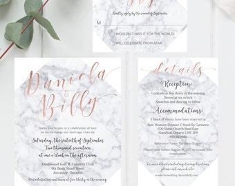 Wedding Invitation, Set, Marble, Rose Gold, Modern, Minimal, Grey, White, Simple, Calligraphy, RSVP Card, Details Card, Bride, Groom