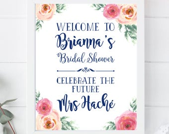 Bridal Shower, Welcome Sign, Future Mrs, Bride To Be, Floral, Navy, White, Flowers, Signage, Wedding, Decor, Poster