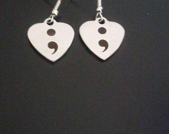 Heart Semi Colon Earrings