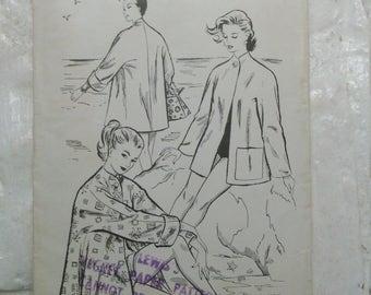 "Fab 1950s casual unlined stroller jacket pattern bust 32"""
