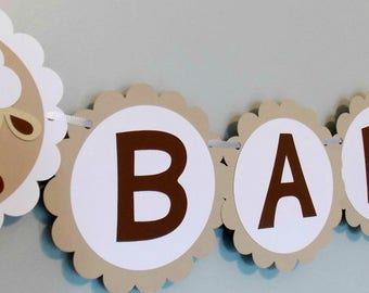 Baby Sheep Banner,Gender Neutral Baby Sheep Shower Banner, Baby Lamb Banner, Brown and white baby shower banner,lamb birthday banner