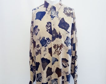 Vintage Floral Shirt Retro Print 70's Abstract Print Oversized Top