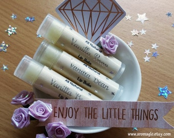 All Natural Vanilla Bean Lip Balm. Highly Moisturising and Nourishing. Scented with organic food grade Vanilla Oil. Great for Gift Giving.