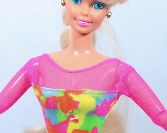 Vintage 1994 Gymnast Barbie doll, Gymnastics Barbie, Gymnast Barbie Doll, barbie doll, blonde hair, 90s, 90s toys