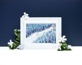 Walk in the Snow - A4 or A3 Artists Print