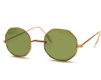 1930s Green Glass Gold Trimmed Sunglasses