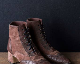 Wingtip Ankle Boots - Lace Up Oxford High Heel Granny Boots - Size 5 B