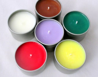 2 oz candle tins, sample candles, soy candles, candle tins, scented soy candles, soy wax candles, travel candle tins, container candles