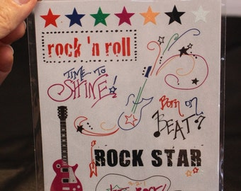 Piggy Tales Rub Ons, Rock Star Rub Ons,Twinkle Little Star Collection, Guitar Rub On Stickers, Rock n Roll Scrapbook Embellishment Card