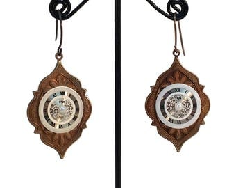 Victorian Style, Steampunk Jewelry, Steampunk Earrings, Watch Face Earrings, Clock Earrings, Victorian Earrings, Vintage Style, Medieval