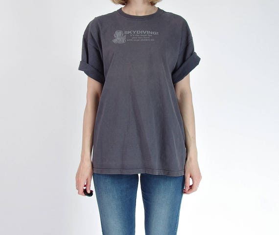 SALE! 80s Skydiving faded distressed oversized boyfriend fit vintage t-shirt / men M-L women M-XL