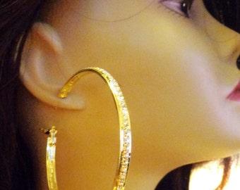 Large 3 inch Hoop Earrings Lined Channel Rhinestone Crystal Hoop Earrings Gold tone HOOPS