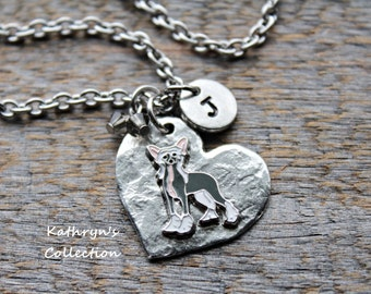Chinese Crested Necklace, Chinese Crested Jewelry, Heart Dog