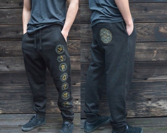 Seed of Life Chakra Joggers - Jogger Sweatpants - Sacred geometry Joggers - Festival Sweatpants - Mens Jogger Pants - Harem pants
