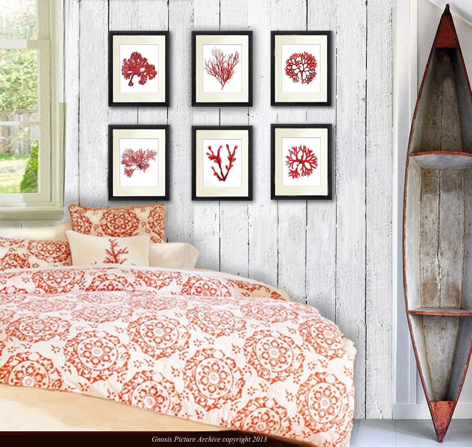 Coastal Wall Decor Coral Red Seaweed Art Prints set of 6