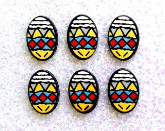 5 pcs - Cartoon Colorful Easter Egg Resin Flatback Cabochon - 33mm - Holiday - Kawaii - Decoden - DIY
