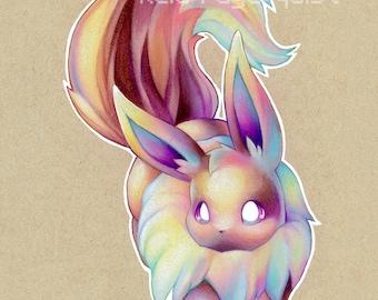 Colorful Eevee art PRINT