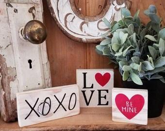 Valentines Day Mini Signs - Farmhouse Signs - Mini Signs - Valentines Day - Farmhouse Decor - XOXO-  Be Mine - Love