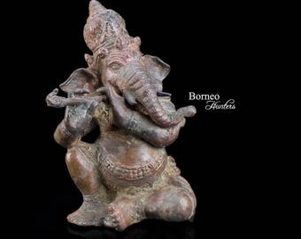 "Jolly Ganesh Playing Flute 6.3""/16cm. Hindu God Of Intellect&Wisdom; Success In The World; Lord Of Beginnings,Lord Of Removing Obstacles"