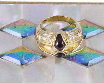 Diamond, Ruby, Citrine, Gold Ring. Vintage Statement Ring