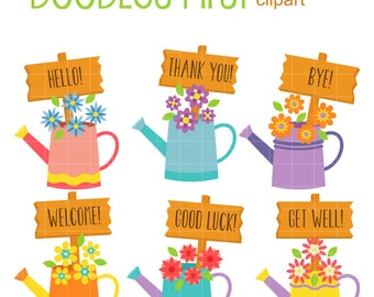 Water Cans With Signs Clip Art for Scrapbooking Card Making Cupcake Toppers Paper Crafts