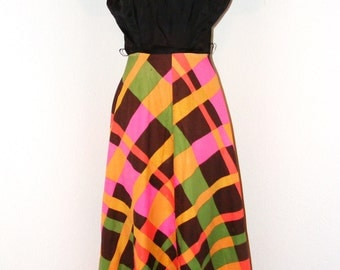Vintage 1960s Handmade Colorful Dress