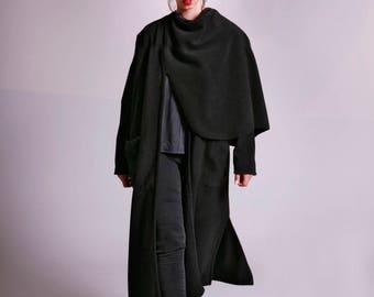 Black Coat, Fleece Coat, Long Black Coat, Wrap Coat, Long Cardigan, Asymmetrical Coat, Shawl Jacket, Fleece Cardigan, Winter