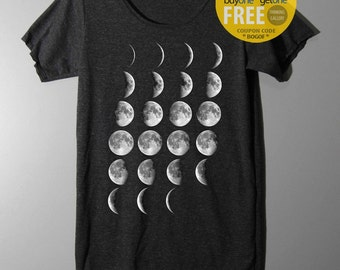 Moon Phase Shirt Halbmond Tabelle Shirt TShirt T Shirt t Shirts