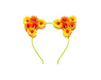 Emoji Cat Ear Headband, Floral Cat Ears, Kitty Ears Headband, Emoji Costume, Kawaii Headband, Lolita Headband, Rave Costume, Rave Oufit