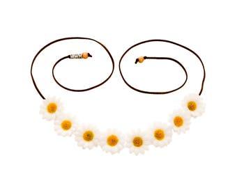 White Daisy Flower Crown, Flower Headband, Hippie Headband, Festival Headband, Bohemian Headband, BoHo Headband, Bridal Headband, EDC Crown