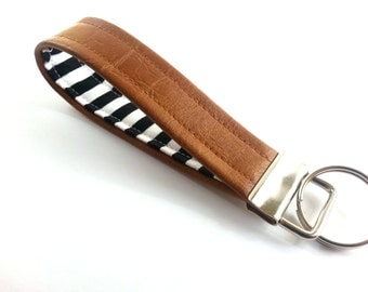 Trendy Keychain, Modern Key Holder, Striped Fabric, Leather Key Fob, Faux Leather, Black and White, Wristlet Key Fob