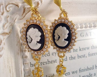 Cameo Earrings Downton Abbey Inspired