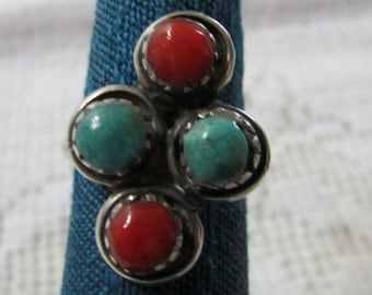 Vintage older Zuni or Navajo turquoise and coral  silver ring size 4.25 Native American Indian