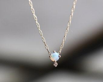 14k Opal Diamond Necklace, Opal Necklace, Solid Gold Necklace, October Birthstone Necklace, Minimal Necklace, layering necklace