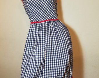 FREE  SHIPPING  1950 gINGHAM cOTTON dAY dRESS