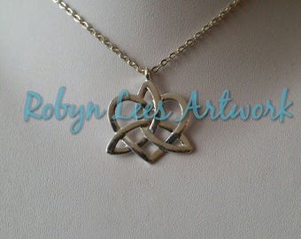 Silver Celtic Knot Heart Necklace on Silver Crossed Chain. Wiccan, Nature, Costume, Love, Different