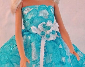 "Barbie Doll Elegant Gown - ""Bellina"" - Wedding Gown, Best Dressed, Party Gown, Handmade Barbie Clothes"