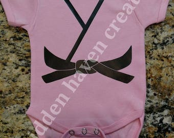 Baby Girl or Boy Taekwondo / Martial Arts / Karate Black Belt Onesie Bodysuit Creeper Pink or Blue