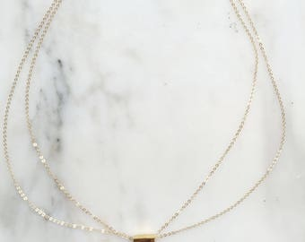 Gold Minimalist Bar Necklace with Double 14k Gold Filled Chain