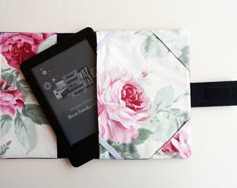 Kindle Paperwhite denim cover, Kindle Paperwhite fabric case, Vintage Roses fabric eBook case, Kindle Voyage case, Kindle sleeve
