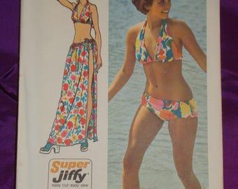 70s Vtg Two Pc Bikini Swim Suit and Long Wrap n Tie Drawstring Waist Skirt UNCUT Simplicity Pattern 5644 Bust 34 36 Inch 87 92 Metric EASY