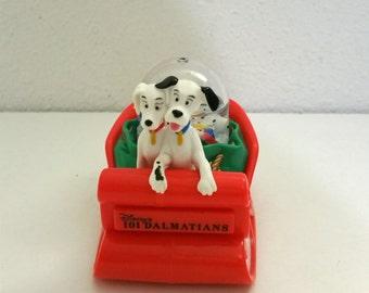 101 Dalmations, Christmas Snow Globe, Vintage Disney 101 Dalmations Figurine, Water Globe, Dogs on Sled