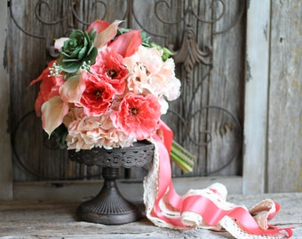 Coral Blush Real Touch Succulent Calla Lily Hydrangea And Poppy Silk Wedding Bouquet