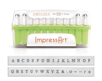 ImpressArt ARCADIA Uppercase Metal Stamping Kit, 3mm Alphabet Stamps,  Impress Art Upper Case Plus NEW Bonus Design Stamps