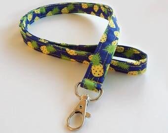 Pineapple Lanyard / Fruit / Pine Apple Keychain / Pineapples / Key Lanyard / ID Badge Holder / Cute Lanyards / Food Lanyard / Tropical