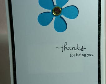 Mod Flower with Rhinestone Center Birthday Card