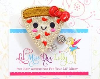 Pizza ID Badge-Embroidered Felt Badge Reel-Pizza Badge- Glitter Badge-Retractable ID Badge Holder- Badge Reel Clip (Set of 1)
