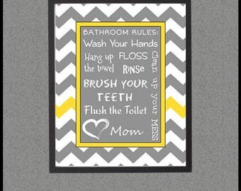 Kids Bathroom Rules, Printable Sign, Rules for Kids, Wash Brush Floss Flush, Yellow and Gray, Chevron Decor, Wall Art, Bathroom Rules Quotes