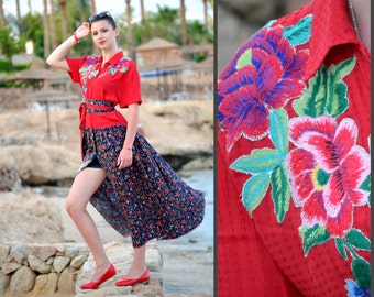 Women's shirt dress, Upcycled long Dress, folk hippi dress, red blue dress, Boho Ethnic style, Gypsy Maxi Dress, Colorful summer, Embroidery